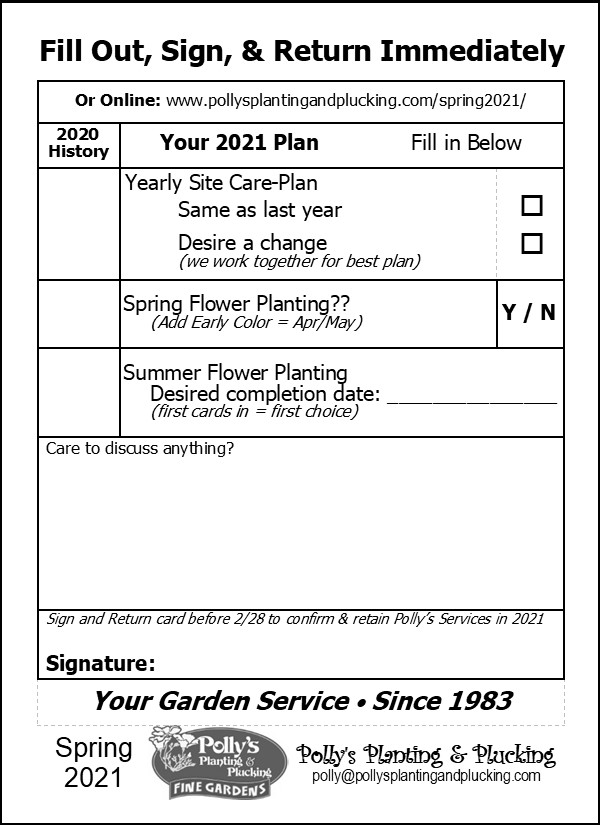 Polly's 2021 Spring & Summer Garden Services E-Postcard Click Here