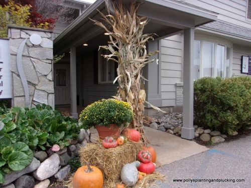Fall entry display Mum pumpkins gourds straw bale corn shock