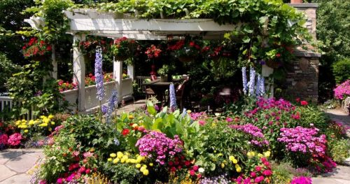summer flower garden and pergola